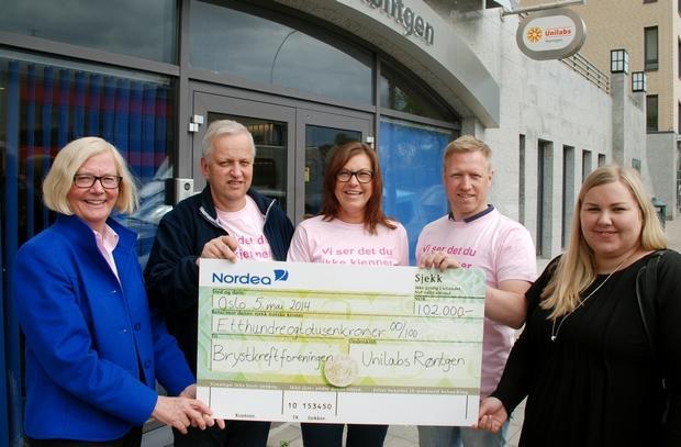 Brystkreftforeningen fikk 102.000 kroner