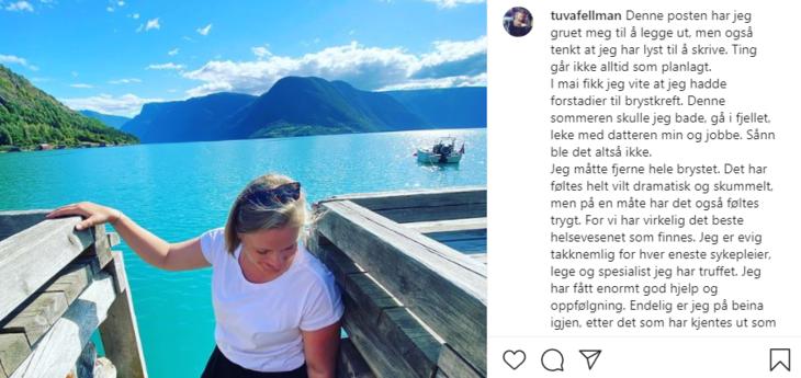 Programleder Tuva Fellman valgte å være åpen om brystkreften på sin Instagramkonto.